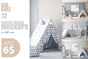 12 PSD Mockups in kids interior