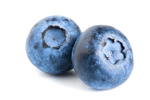 two fresh blueberry isolated on