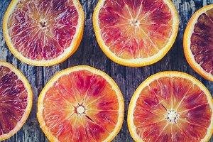 Sliced blood oranges texture