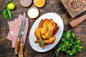 Roasted chicken with rosemary served