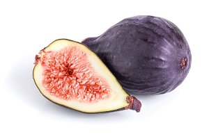 Fresh fig fruit and half isolated on