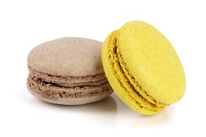 yellow and chocolate macaroon
