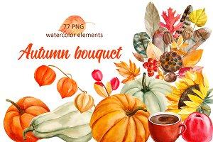 Autumn bouquet, watercolor