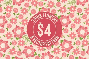 Pink Flower Seamless Pattern