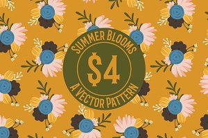Summer Blooms Seamless Repeat Patter