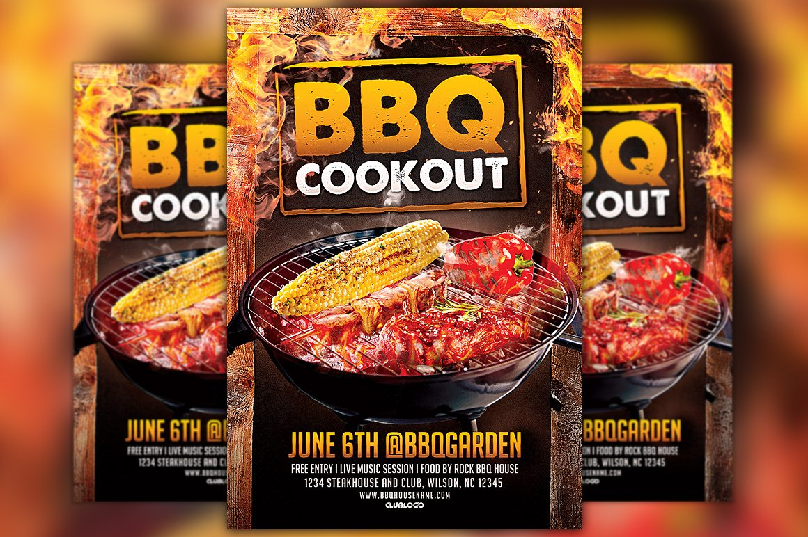 bbq cookout flyer template flyer templates creative market. Black Bedroom Furniture Sets. Home Design Ideas