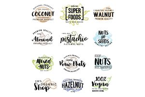 Nuts and beans vector lettering