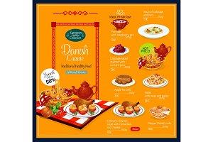 Vector menu for Danish cuisine
