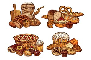 Vector sketch bread and bakery food