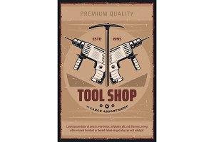 Vector retro poster for tool shop