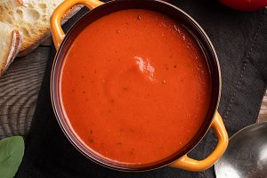 Homemade tomato soup with Basil