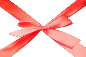 3D red bow tape ribbon gift vector