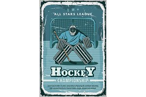Vector retro poster for hockey sport