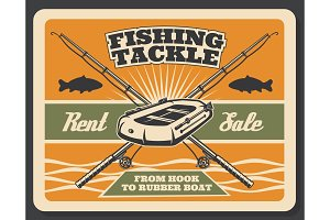 Vector poster for fishing store