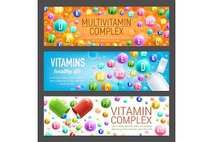 Vitamins and multivitamins vector