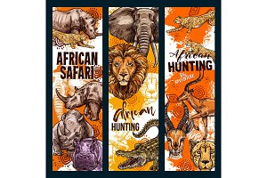Vector African safari animals