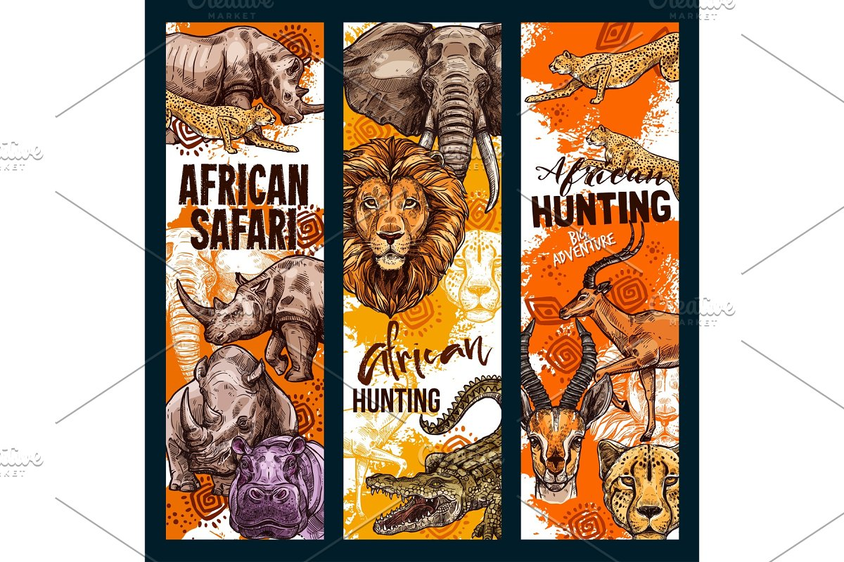 Vector African safari animals