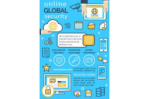 Vector poster online global security