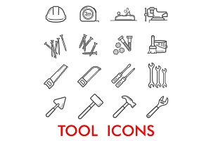 Vector thin line icons repair tools