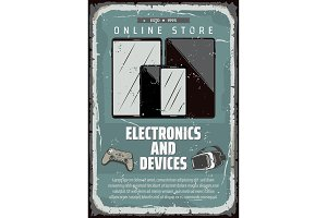 Vector poster electronic device shop