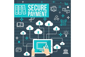 Vector poster secure online payment