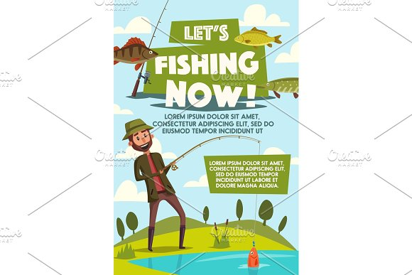 Poster of fisherman with fish rod