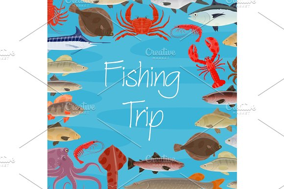 Vector poster fishing trip and fish