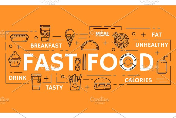 Vector fast food thin line poster