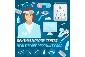 Vector card ophthalmology center