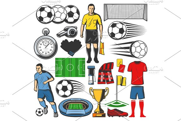 Vector items of football or soccer in Illustrations