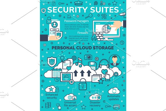 Vector poster internet data security