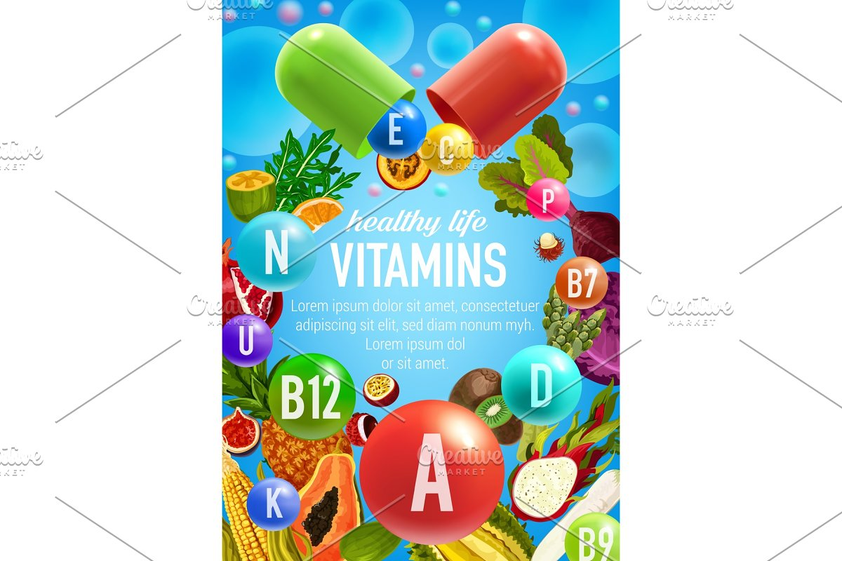 Vegetables and fruits vitamins