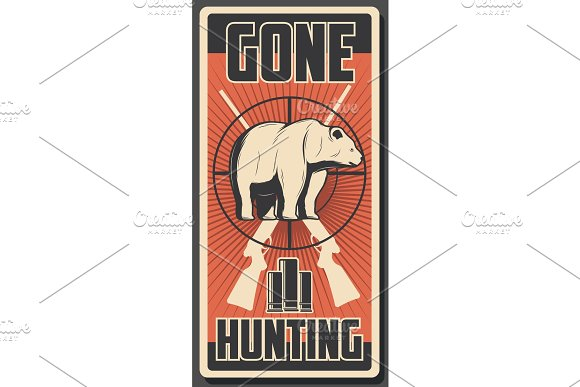 Vector bear hunt poster for hunting