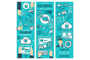 Vector banner global online security