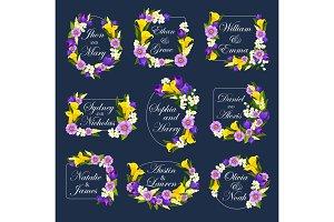 Vector flowers frames for wedding