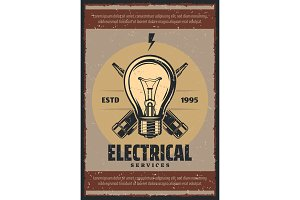 Vector poster electrical services