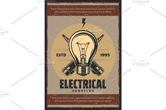 Vector poster electrical services in Illustrations