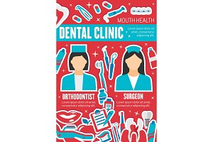 Vector poster dental health clinic