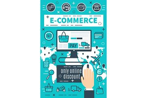 Vector banners internet e-commerce
