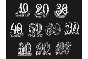 Vector lettering numbers anniversary