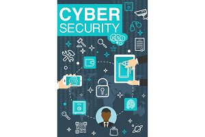 Vector poster online cyber security