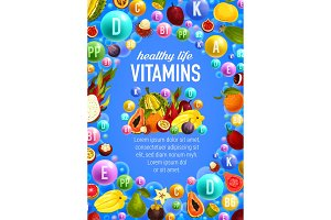 Vector vegetables fruits vitamins