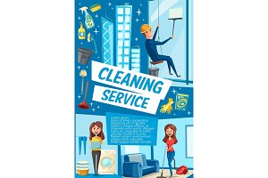 Vector poster house cleaning service