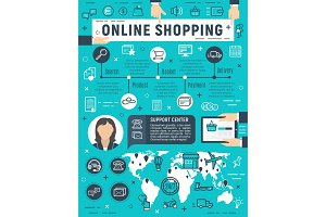 Vector poster for online shopping