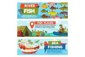 Fishing sport cartoon banners