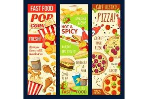 Fastfood restaurant menu banners
