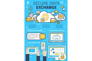 Vector poster secure online data