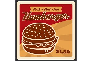 Poster for hamburger fast food