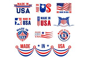 Icons or bagdes made in USA