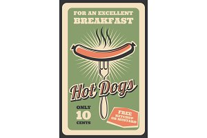 Retro poster of hot dog fast food